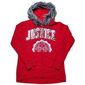 Girls Justice Logo Faux Fur Team Hoodie Sz 12